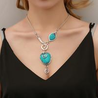 Wholesale turquoise pendant jewelry resale online - 15pcs Ethnic Style Crack Turquoise Necklace Bohemian Retro Snail Heart Pendant Necklaces Alloy Resin Neck Chain Women Jewelry Accessorie