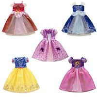 meninas vestido longo suspender venda por atacado-DHL 9 estilos Bebê menina vestido cosplay do dia das bruxas Bela Adormecida Cinderela cabelo comprido princesa traje saias crianças vestidos de festa X'mas M177