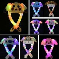 kinder bewegen sich großhandel-Bewegen Ohren Led Plüsch-Karikatur-Kaninchen Cap Pikachu Katze Airbag Hüte Stickerei Häschen-Ohr-Licht-Hut für Kinder Kinder Erwachsene Xmas Party WX9-1546