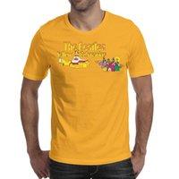 ingrosso magliette grafiche gialle-Mens design stampa The Beatles Yellow Logo maglietta gialla stampa personalizzata graphic designer campione magliette slogan maglietta slim