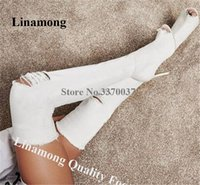 Wholesale sexy pink peep toe heels resale online - Linamong Women Sexy Peep Toe Denim Over Knee Stiletto Heel Gladiator Boots White Pink Cut out Long HIgh Heel Boots Dress Heels