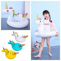 Wholesale baby inflatable swimming float ring online - INS Inflatable Unicorn Floats Kids Unicorn Float Swimming Ring Baby Unicorn Life Buoy Floating Ring Outdoor Play CCA11541