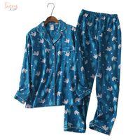 Wholesale korea lace collar resale online - Winter Korea Cartoon Cotton Pyjamas Pajama Sets Women Pajamas Sets Autumn Brushed Cotton Cute Warm Women Sleepwear Mujer