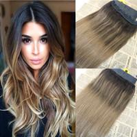 clip de extensiones de cabello ombre 24 al por mayor-Envío gratis Balayage 2/8 Clip de una pieza en extensión de cabello humano 1 pcs set 5 Clips 70g 120g 140g 12