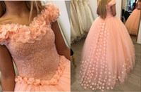 Wholesale 3d art sweet online - Romantic D Floral Flowers Coral Quinceanera Prom Dresses Ball Gown Cheap Long Off shoulders Tulle Sweet Dress Party For Girls