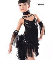 disfraz de niños latinos al por mayor-los niños de transporte gratuitos a niños niñas vestido latino de lentejuelas vestidos de competencia borla vestido latino samba trajes de plumas de baile de salón