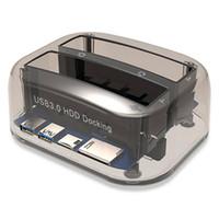 ingrosso docking doppio sata hdd-Dual Slot USB 3.0 a SATA IDE Dock station per disco rigido esterno con lettore di schede Hub USB per 2.5 3,5 IDE SATA I / II / III HDD SSD