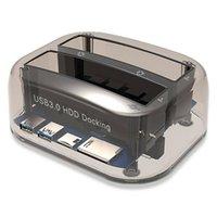 ssd ide sürücüler toptan satış-Çift Yuvaları USB 3.0 ila SATA IDE Harici Sabit Disk Dock İstasyonu Kart Okuyucu Ile USB Hub Için 2.5 3.5 IDE SATA I / II / III HDD SSD