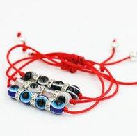 rote fadenkristalle großhandel-Glück Crystal Eye Blau Evil Eye Charms Armband Rote Schnur Faden Seil Armband Für Frauen Männer Evil Eye Schmuck Geschenke