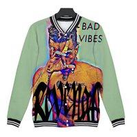флисовая бейсбольная куртка женщины оптовых-Хип-хоп рэппер xxxtentacion 3D бейсбольная куртка Повседневные пальто Мужчины и женщины Воротник-стойка Флисовая куртка Harajuku Уличная одежда