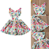 ingrosso vestito dalla neonata 24m-New Toddler Infant Newborn Baby Girl Dress Stampe floreali Heart Shaped Princess Dress Abiti colorati adatti per 0-24M