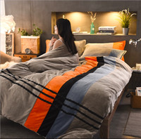 Wholesale queen size beddings online - Flannels Bedding Set Black Lines Duvet Cover Sheet Bed Cover Full Queen King Size Beddings For Adults