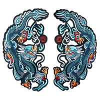 chinesisch bestickte kleidung großhandel-2 STÜCKE Blau Chinese Dragon Totem Gestickte Patches Nähen Eisen Auf Abzeichen Für Kleidung DIY Appliques Handwerk Dekoration Aufkleber