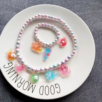 Wholesale kids bracelet necklace resale online - New style ocean animal Kids Necklaces Cute Cartoon Girls Necklaces Bracelet set Girls Bracelet designer kids jewelry A8426