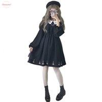 mini vestidos japoneses al por mayor-Cruzar la calle Cosplay de la manera Sobre la rodilla mini vestido de tul vestido de Lolita Vestidos de verano linda chica japonesa gótica del estilo de Kawaii Estrella