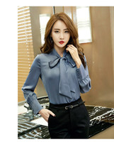 Wholesale womens summer shirts bows online – Ribbon Bow Single Breasted Summer Office Lady Shirts Contracted Atmosphere Womens Long Sleeve Shirts Female Clothing