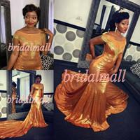 sexy paillettenkleider großhandel-Plus Size 2019 Gold Pailletten Mermaid Prom Kleider Scoop Illusion Mieder Lange Formale Abendkleider Besondere Anlässe Kleid Dance Party Kleider