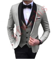 Wholesale white vest yellow tie for sale - Group buy Handsome One Button Groomsmen Shawl Lapel Groom Tuxedos Men Suits Wedding Prom Dinner Best Man Blazer Jacket Pants Tie Vest