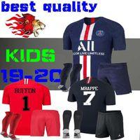 camisa roja al por mayor-19 20 niños kit de camisetas de fútbol mbappe home VERRATTI CAVANI niño Buffon RED psg CAMISA Notre Dame AJ Notre-Dame BOYS 2019 2020