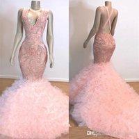 imágenes para faldas de encaje vintage. al por mayor-Imagen real Vintage Pink Mermaid Event Vestidos de baile Largo 2019 Cuello en V Volantes con gradas Falda Apliques de encaje Vestido de noche Vestidos de fiesta