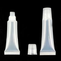 weiche schlauchbehälter großhandel-8ml durchsichtiger Kunststoff leer nachfüllbare weiche Röhren Balsam Lipgloss Flasche Kosmetikbehälter Lippenstift Make-up-Box
