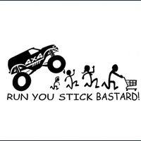 Wholesale black car stick for sale - Group buy Reflective RUN YOU STICK BASTARD x4 Car Sticker Window Wall Bummper Laptop Windshield Waterproof Car Door Motorcycle Sticker Vinyl Decal