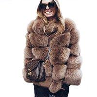 длинный мех жиле рукава оптовых-2018 New Winter Coat Women Faux  Fur Coat Plus Size Women Stand Collar Long Sleeve Faux Fur Jacket gilet fourrure