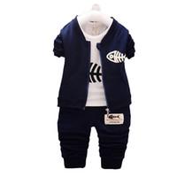 neue ankunftsbabyausstattung großhandel-BibiCola Kinder Jungen Kleidung Sets 2017 Neue Ankunft Baby Langarm-shirt Mode Kleidung Sport Anzug Kid Boy Outfits anzug