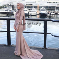 Wholesale navy blue white scarf for sale - Group buy Muslim Evening Dresses Appliques Mermaid Long Sleeves With Scarf Islamic Dubai Saudi Arabic Long Prom Gown abendkleider