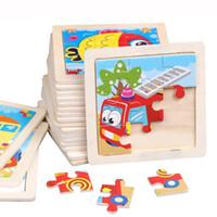 desenhos animados em madeira venda por atacado-15 pçs / lote Novo 9 Fatia de Puzzle De Madeira Simples Jigsaw Animal Veículo Veículo de Brinquedo De Madeira para Crianças Do Bebê Aprendizagem Precoce Educacional Brinquedos Presente DK-M500