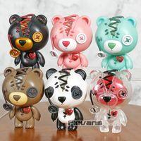 ingrosso bambole rosa-Teddy Bear Teddy Bear Toys Black Ghost rosa luminosa Panda Brown Mini PVC Figure Car Decoration Dolls 6pcs / set