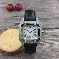 Wholesale leather watch red face resale online - 2018 New Fashion dress Diamond Wristwatch Colorful Brand Genuine leather clock Quartz Watches Women Clock full diamond square dial face