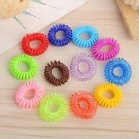 Wholesale children's bracelets resale online - Candy Color Hair Rings Telephone Wire Design Ponytail Holder Girls Hairbands Colorful Elastics Hair Tie Bracelets HHA1315