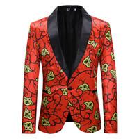 erkekler kırmızı takım elbisesi toptan satış-Kırmızı Çiçek Suit Blazer Erkekler İlkbahar Sonbahar Yeni Tek Düğme Suit Ceket Erkek Düğün Balo Blazers Terno Masculino XXL Suits
