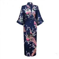 vestidos de seda japoneses al por mayor-Novia sexy Dama de honor Vestido de novia Vestido de kimono japonés Estampado de pavo real Satén de seda Yukata Bata de baño Camisón