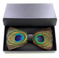 ingrosso gli occhi dell'arco-Wedding Party Cravatta Tow Eyes Peacock Feather Bow Tie Per Uomo Tuxedo degli uomini di alta qualità Vestito Vintage Bow tie Spedizione Gratuita