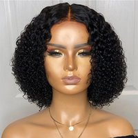 Wholesale virgin human hair afro wig for sale - Group buy 13X6 Deep Part Short Lace Front Wigs Human Hair Pre Plucked Natural Hairline Brazilian Virgin Afro Kinky Curly Bob Wig For Black Women