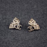 süßwasserperle für großhandel-Womens Süßwasser Perle Diamant Ohrringe Designer Schmuck Luxus Rose Gold Ohrstecker Messing Hochwertige Hochzeit Schmuck