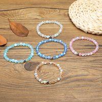 pulseras rosas verdes para niñas al por mayor-Nuevo Spectrolite Bling Stone Bead Bracelet Pink Blue Green Natural Stone Beads Yoga Balance Bracelet para mujeres niñas Buddha Jewelry