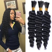 Wholesale curly micro braiding hair resale online - Brazilian Hair Bulk Deep Wave Natural Color No Weft Micro mini Braiding Deep Curly Bulk Hair