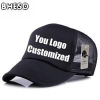 snapback equipado gorras al por mayor-10 unids / lote BHESD Custom Plain Mesh Gorra de béisbol Anuncio Sombrero Logotipo personalizado de malla camionero sombreros Gorras CasquetteJY-234