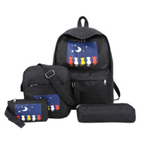 Wholesale cat canvas backpack korean resale online - Women Four Piece Backpack Printed Cat Backpack Travel Student Bag School Bag female fashion korean