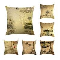 Wholesale new year pillow resale online - Retro Pillowcase Flower Paris Cushion Cover Letter Happy New Year Linen Car Chair Seat Wedding Throw Decorative Pillows ZY349