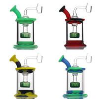 ingrosso teste di vetro-Assemblare in silicone Bong alto 11 centimetri soffione doccia soffione Facile pulire Dab Rig con 4 millimetri di quarzo banger tubo di vetro in silicone piccoli impianti di vetro bong