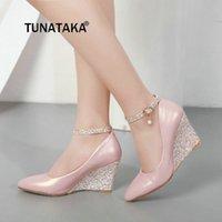 zarif beyaz düğün ayakkabıları toptan satış-Kadınlar takozları Yüksek topuklu Ayak bileği kemeri için Siyah Pembe Beyaz dolgu ayakkabı Sivri Burun Zarif Düğün Ayakkabı Bayanlar pompaları