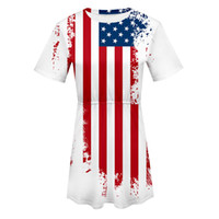 Wholesale usa women casual dress resale online - Women American Flag USA Short Sleeve O Neck Print Elastic Ladies Dress th Of July Independence Day o neck Party Casual Dresses