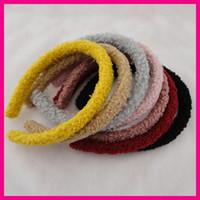 bandeaux de cachemire d'hiver pour femmes achat en gros de-10 PCS 15mm Peluche Velours Tissu Couvert En Plastique Cheveux Bandeaux D'hiver Femmes filles bandeaux Teddy Cashmere