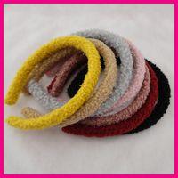 muñequeras de cachemira de invierno para las mujeres al por mayor-10 UNIDS 15mm Tela de Terciopelo de Felpa Cubierta de Plástico Vendas Del Pelo de invierno Mujeres niñas hairbands Teddy Cashmere