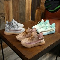 Wholesale girl casual lace shoes resale online - Children s girls casual shoe coconut shoes summer new breathable mesh face boy sports shoes Knitted mesh luminous bottom M066