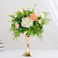 ingrosso fiori di piombo stradali-3 colori 32 centimetri / 12in altezza metallo portacandele candela bastone centrotavola matrimonio evento romantico strada piombo fiore cremagliera